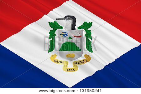 Flag of Saba is a Caribbean island and the smallest special municipality of the Netherlands.
