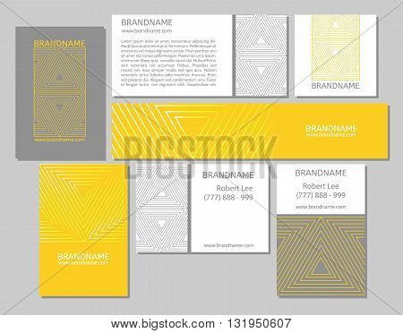 Vector set of business cards flayers banners with triangle pattern on a white yellow gray background. Modern abstract style linear ornament.