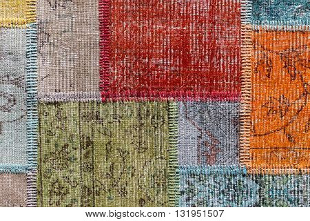 Asian patchwork carpet in Istanbul Turkey. Close up