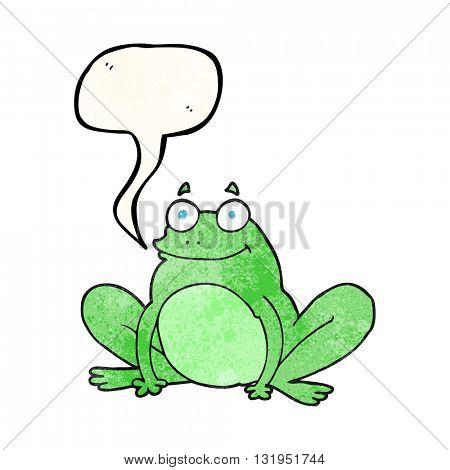 freehand speech bubble textured cartoon happy frog