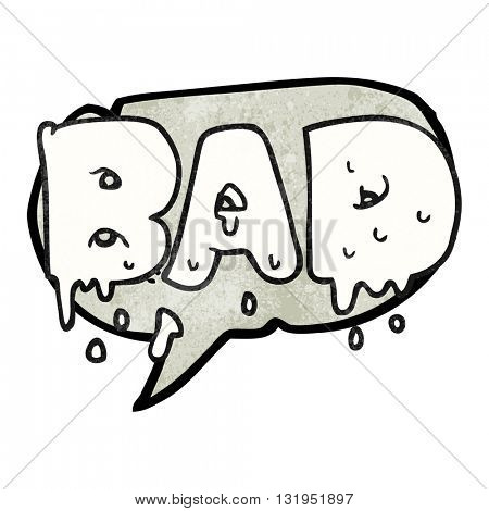 freehand speech bubble textured cartoon word bad