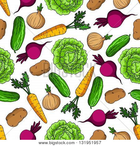 Healthy vegetarian pattern with seamless cartoon ornament of vivid green cabbages and cucumbers, juicy orange carrots and onions with fresh leaves, purple beetroots and potatoes vegetables on white background