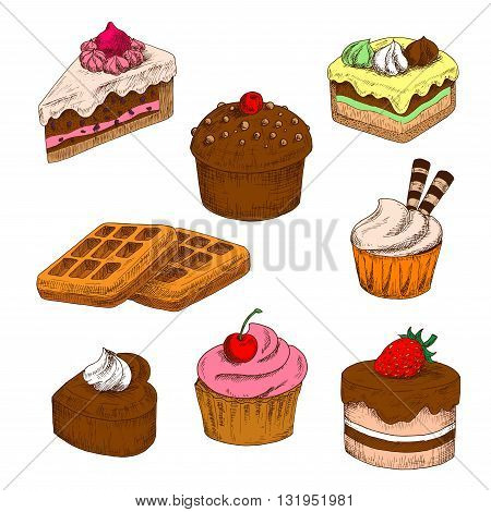 Awesome chocolate cakes and cupcakes, topped with buttercream frosting with fresh strawberry and cherry fruits, wafer tubes and meringue decorations, sugar belgian waffles colored sketch icons
