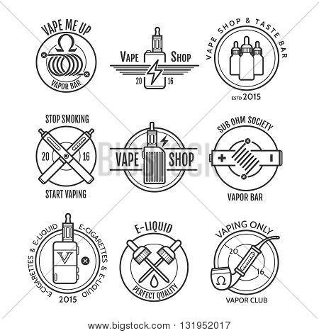 Vape shop labels and vapor bar logo, e-cigarette shop emblems or vaping badges vector set