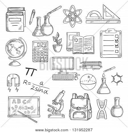 School supplies sketch symbols for back to school concept design with desktop computer and books, calculator and globe, backpack and microscope, blackboard and laboratory flasks, DNA and atom, formula and drawings, magnet and clipboard