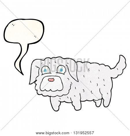 freehand speech bubble textured cartoon small dog
