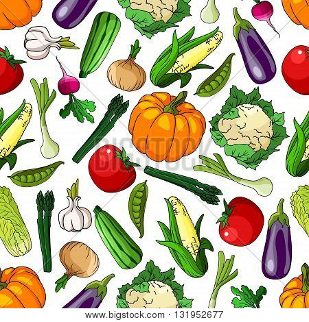 Vivid seamless organic farm grown vegetables pattern background with tomatoes and eggplants, pumpkins and corn cobs, peas and garlics, onions and radishes, asparagus and cauliflowers, chinese cabbages and zucchini