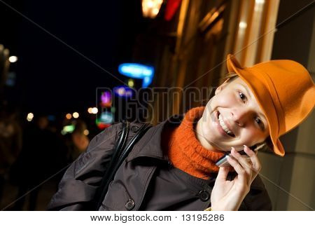 Beautiful girl talks on the phone