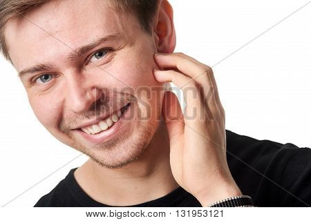 Happy young man, horizontal on white background