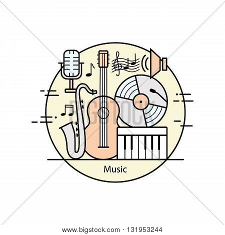 Modern color thin line art design music. Vector illustration with different elements on the theme of music. Graphic element for music schools and conservatories.