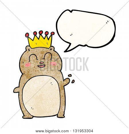 freehand speech bubble textured cartoon waving hamster