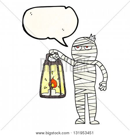 freehand speech bubble textured cartoon mummy