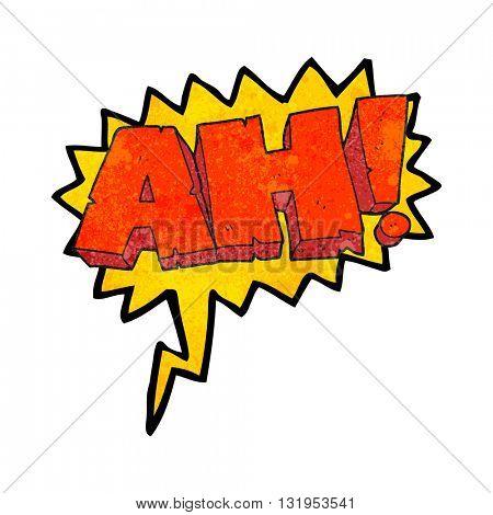 freehand speech bubble textured cartoon AH! shout