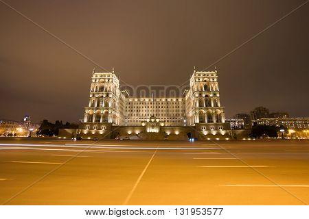 Moving Car With Blur Light Through Baku goverment house.