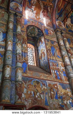 ROSTOV, RUSSIA - JUNE 3, 2013: Rostov Kremlin. There are frescoes on the walls of the ancient Gate Church of Icon of the Mother of God