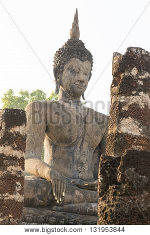 Buddha Statue Carved From Sandstone.