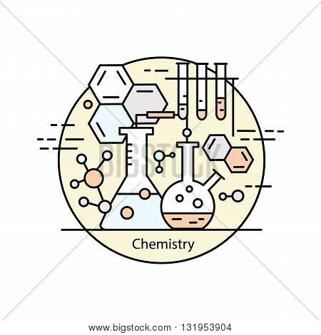 Modern color thin line concept of chemistry for school, university and training. Vector illustration with different elements on the subject chemistry. Logo Concepts for Trendy Designs.