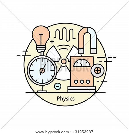 Modern color thin line concept of physics for school, university and training. Vector illustration with different elements on the subject physics. Logo Concepts for Trendy Designs.
