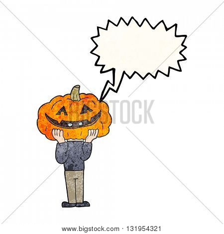 freehand speech bubble textured cartoon pumpkin head halloween costume