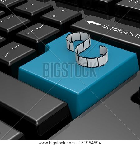 Film strip on blue button of computer keyboard image 3D rendering