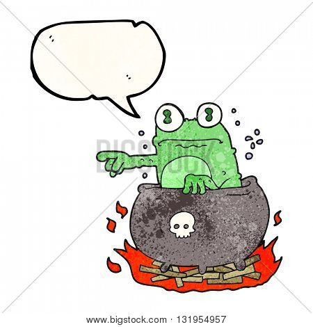 freehand speech bubble textured cartoon halloween toad in cauldron