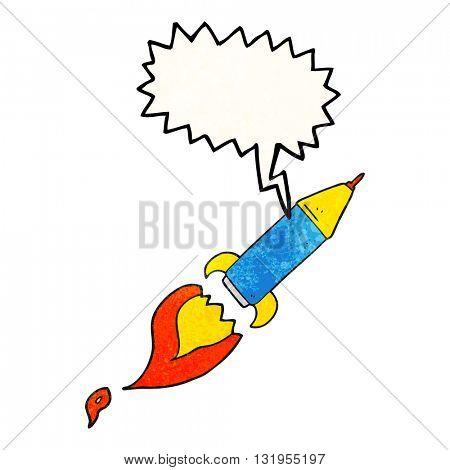 freehand speech bubble textured cartoon rocket