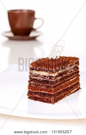 A  piece of cake on a white background