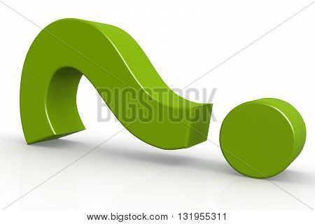 Green question mark on isolate white background 3D rendering