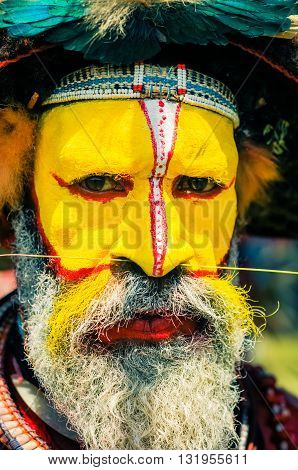 Man With Pierced Nose In Papua New Guinea