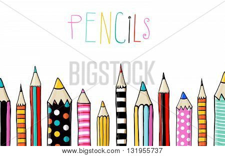 Set of ten colored pencils on white background in sketch fun style.line of colored pencils.Back to school. Pencils background.