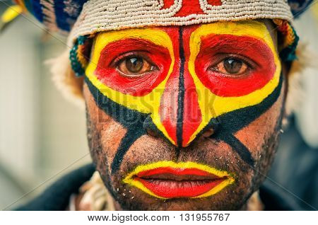 Sad Look Of Man In Papua New Guinea