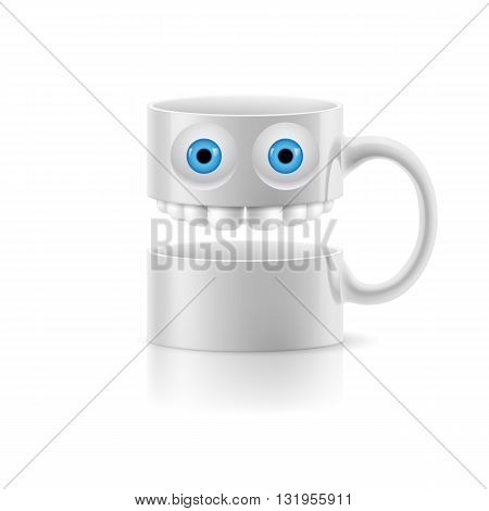 White mug of two parts with teeth and a couple of blue eyes.