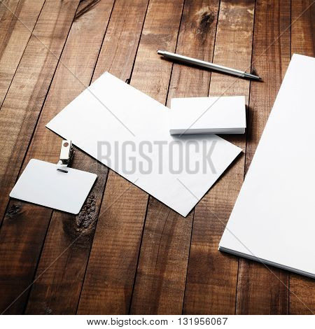 Blank stationery and ID template. Blank paperwork mock-up. Blank branding identity template. Top view.
