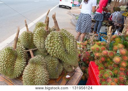 Fresh Durian And Rambutan In Market