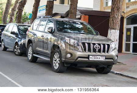 SOCHI, RUSSIA - APRIL 29 2016: Toyota Land Cruiser parked in the streets of Sochi.
