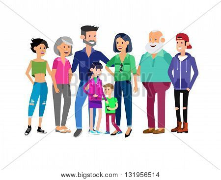 Set of big happy family character, Mom and Dad, grandparents, parents and children, brother and sister, son and daughter. Portrait of a big happy family. Vector family character