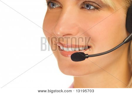 Beautiful hotline operator with headset isolated on white background