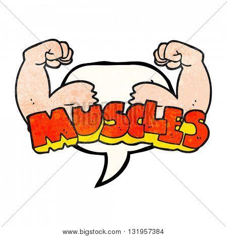 freehand speech bubble textured cartoon muscles symbol