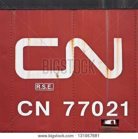 TATAMAGOUCHE CANADA - MAY 04 2016: The Canadian National Railway Company is a railway company based in Montreal QC. CN operates in Canada and parts of the United States.