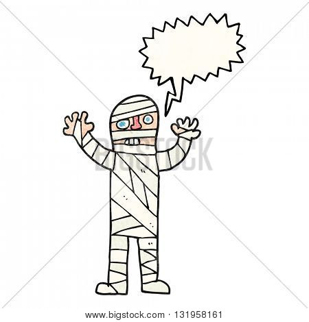 freehand speech bubble textured cartoon bandaged mummy