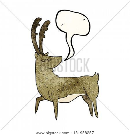freehand speech bubble textured cartoon manly stag