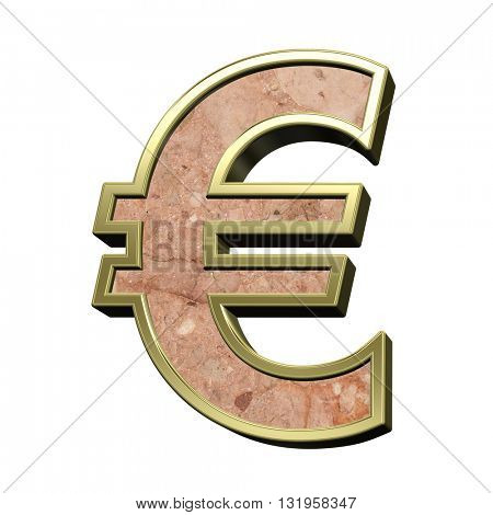 Euro sign from stone conglomerate with gold frame alphabet set isolated over white. 3D illustration.