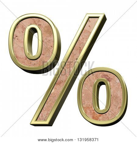 Percent sign from stone conglomerate with gold frame alphabet set isolated over white. 3D illustration.