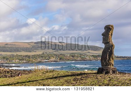 Lonely Moai, Ahu Tahai, Easter Island, Chile