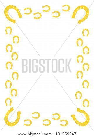 Gold horseshoe border - modern vector illustration.