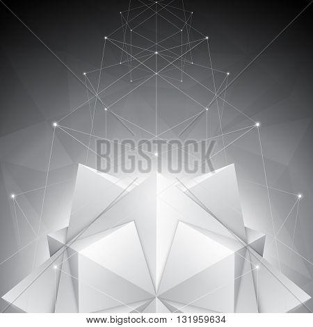 Three-dimensional polygonal shapes on dark geometric background