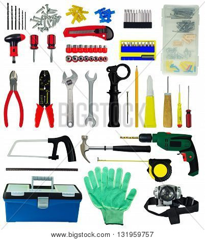 Set of tools and construction implements isolated on white background