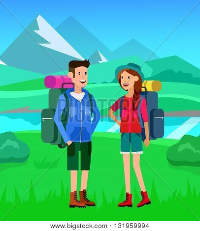 summer camping with landscape. Morning landscape in the mountains. Men and woman character camping tourists. Camping Weekend. Hiking and camping. Vector camping flat illustration