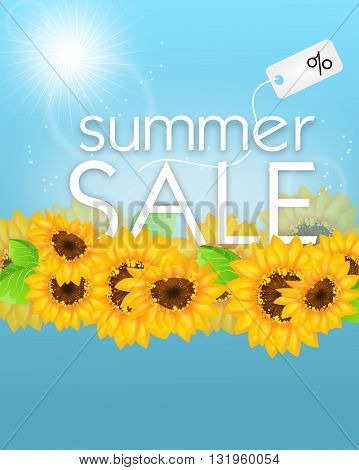 Summer sale background card with sunflowers decoration