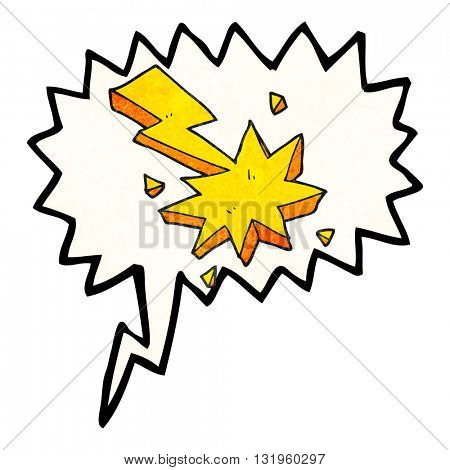 freehand speech bubble textured cartoon lighting strike symbol